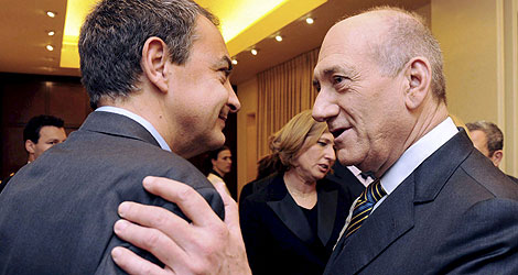 Zapatero en la cena con Olmert